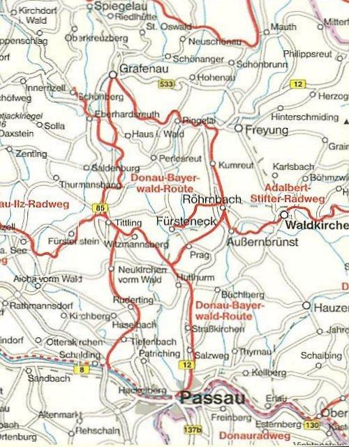 Karte Donau-Bayerwald-Radroute